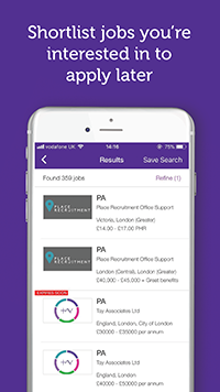 Shortlist Jobs on the SecsintheCity App